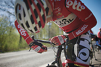 Lars Bak (DNK/Lotto-Belisol) tightening his SRM (so it wouldn't come loose over the gruesome cobble sections)<br /> <br /> 2014 Paris - Roubaix reconnaissance