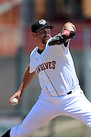 Erie Seawolves pitcher Tyler Stohr #32 delivers a pitch during a game against the New Britain Rock Cats on June 20, 2013 at Jerry Uht Park in Erie, Pennsylvania.  New Britain defeated Erie 2-0.  (Mike Janes/Four Seam Images)