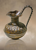 Phrygian bronze trefoil jug with a beated geometric design. From Gordion. Phrygian Collection, 8th century BC - Museum of Anatolian Civilisations Ankara. Turkey. Against an art background