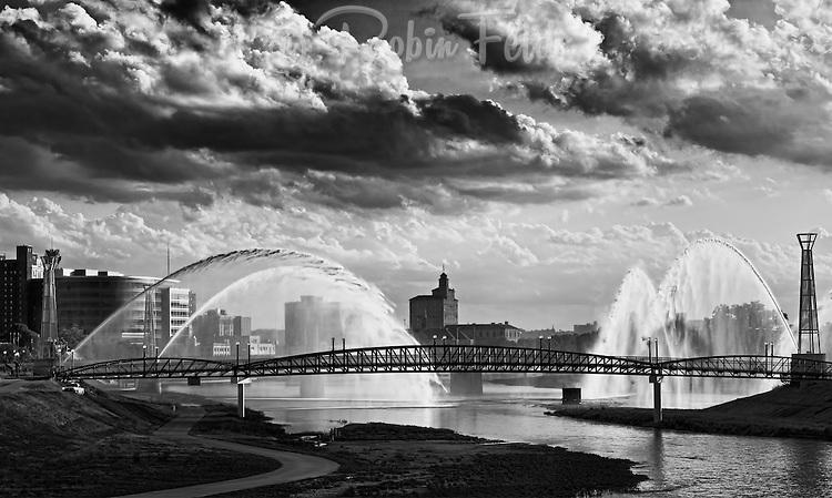 Pedestrian bridge at Riverscape, Downtown Dayton Ohio, in black & white