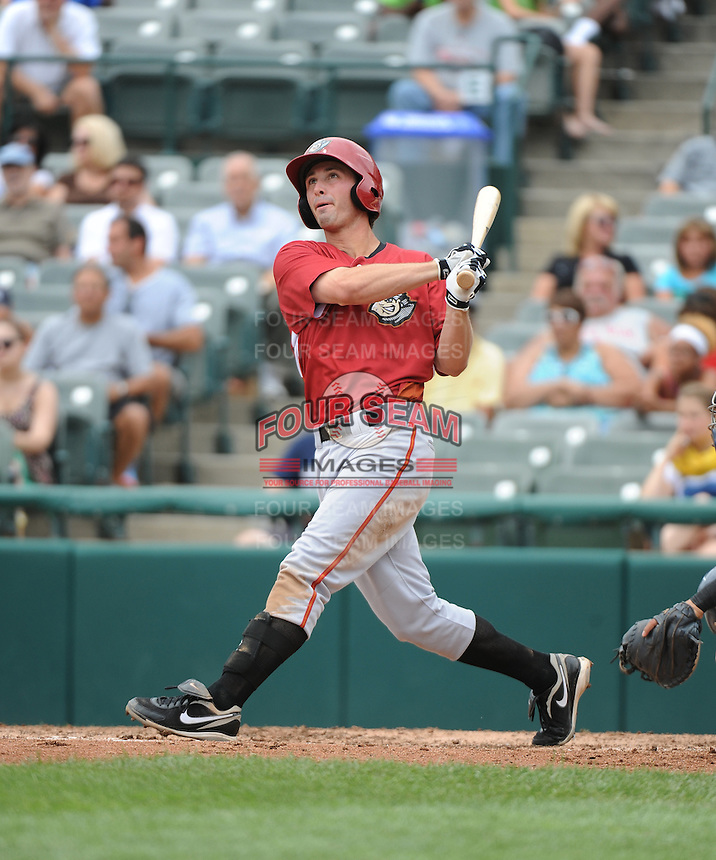 Altoona Curve infielder Jarek Cunningham (24) hits a home run during game against the Trenton Thunder at ARM & HAMMER Park on July 24, 2013 in Trenton, NJ.  Altoona defeated Trenton 4-2.  Tomasso DeRosa/Four Seam Images
