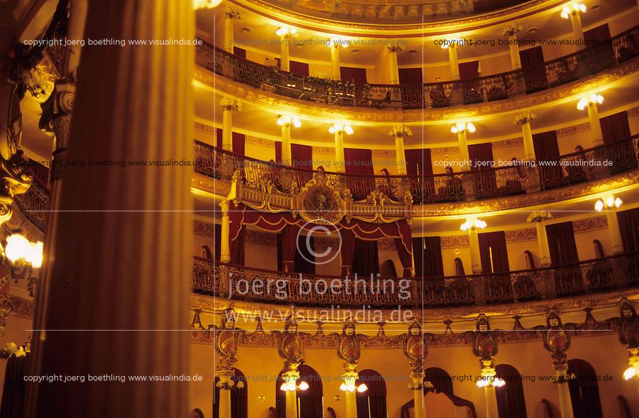 BRAZIL, state Amazon, city Manaus, inside opera house Teatro Amazonica, built 1883-1896  / BRASILIEN Amazonas Manaus , Opernhaus Teatro Amazonas 1896 nach europaeischem Vorbild im Stile des neoklassischen Eklektizismus erbaut, das Opernhaus war auch Drehort fuer den Werner Herzog Film Fitzcarraldo mit Klaus Kinski