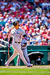 14 April 2018: Colorado Rockies outfielder Carlos Gonzalez at bat against the Washington Nationals at Nationals Park in Washington, DC. The Nationals rallied to defeat the Rockies 6-2 in the 3rd game of their 4-game series. Mandatory Credit: Ed Wolfstein Photo *** RAW (NEF) Image File Available ***