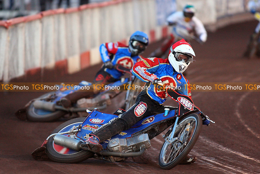 Heat 6: Andreas Jonsson (red) ahead of Leigh Lanham (blue) and Jaroslaw Hampel - Lakeside Hammers vs Ipswich Witches - Elite League Speedway at Arena Essex Raceway - 02/05/08 - MANDATORY CREDIT: Gavin Ellis/TGSPHOTO. Self-Billing applies where appropriate. NO UNPAID USE. Tel: 0845 094 6026