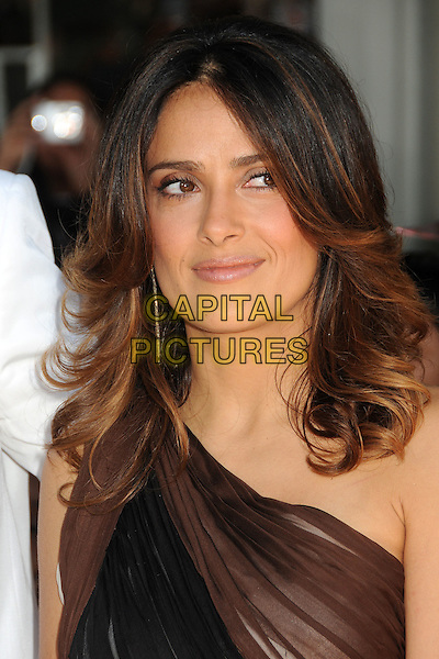 Salma Hayek.The L.A. Premiere of 'Puss in Boots' held at The Regency Village Theatre in Westwood, California, USA..October 23rd, 2011.headshot portrait black brown one shoulder .CAP/ADM/BP.©Byron Purvis/AdMedia/Capital Pictures.