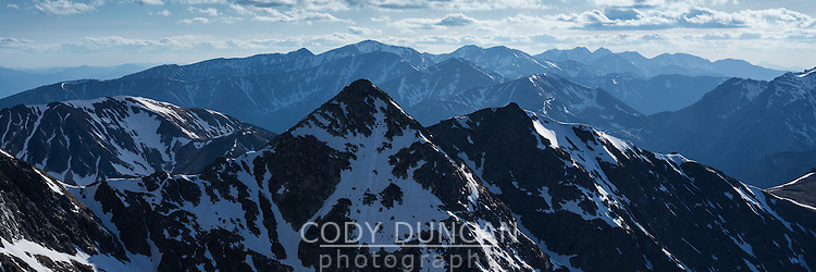 Sprintime view over Tatra mountains from summit of Koscielec (2155m), Poland