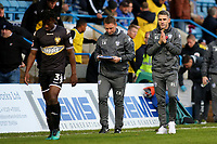 Bury Caretaker Manager, Ryan Lowe looks as though he is saying a little prayer as he walks off at half-time during Gillingham vs Bury, Sky Bet EFL League 1 Football at the MEMS Priestfield Stadium on 11th November 2017