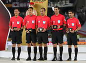 February 1st 2019; Adu Dhabi, United Arab Emirates; Asian Cup football final, Japan versus Qatar;  Referees of Commemorative Medals pose on the podium