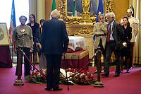 Giorgio Napolitano davanti alla bara<br /> Roma 28-09-2015 Camera dei Deputati.  Camera ardente di Pietro Ingrao, morto all'eta' di 100 anni.<br /> Burial Chamber for Pietro Ingrao, leader of the Italian Comunist Party, died at the age of 100-<br /> Photo Samantha Zucchi Insidefoto