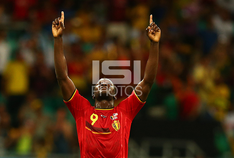 Romelu Lukaku of Belgium celebrates at full time