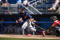 State College Spikes second baseman Josh Swirchak (26) at bat aduring a game against the Batavia Muckdogs August 23, 2015 at Dwyer Stadium in Batavia, New York.  State College defeated Batavia 8-2.  (Mike Janes/Four Seam Images)