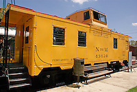 Train caboose, Museo Nacional de los Ferrocarriles Mexicanos or National Railway Museum in the city of Puebla, Mexico