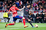 Atletico de Madrid Jose Maria Gimenez and Arsenal FC Mesut Ozil during Europa League Semi Finals First Leg match between Atletico de Madrid and Arsenal FC at Wanda Metropolitano in Madrid, Spain. May 03, 2018.  (ALTERPHOTOS/Borja B.Hojas)