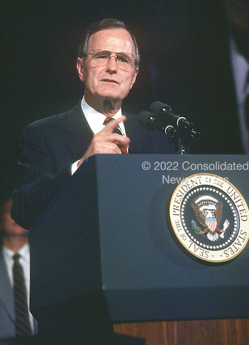 United States President George H.W. Bush makes remarks at the AFL-CIO convention in Washington, D.C. on November 15, 1989.<br /> Credit: Ron Sachs / CNP