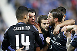 Real Madrid's Carlos Henrique Casemiro, Alvaro Morata, Nacho Fernandez and Sergio Ramos celebrate goal during La Liga match. April 5,2017. (ALTERPHOTOS/Acero)