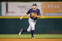 Rome Braves second baseman Luke Dykstra (4) on defense against the Hickory Crawdads at L.P. Frans Stadium on May 12, 2016 in Hickory, North Carolina.  The Braves defeated the Crawdads 3-0.  (Brian Westerholt/Four Seam Images)