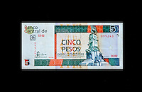 """Cuba, Havana.  """"Pesos Convertibles"""", the pesos used by tourists in Cuba.  This is a 5 peso note."""