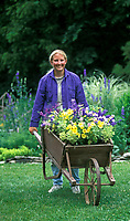 Young woman pushing antique wheelbarrow full of spring flowers getting ready to plant, USA