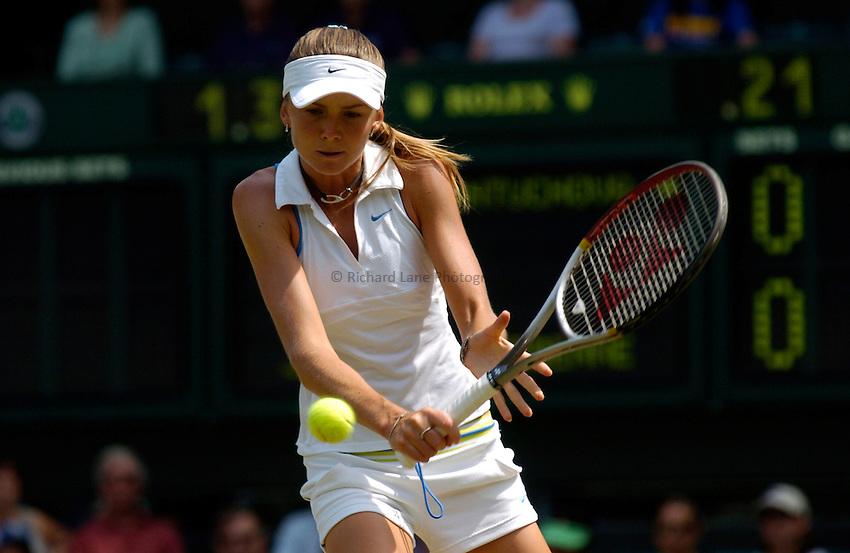 Photo: Richard Lane..Wimbledon Championships. 03/07/2006. .Daniela Hantuchova of Slovakia returns.