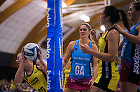 Katrina Grant takes a rebound during the ANZ Premiership netball final between the Central Pulse and Southern Steel at Arena Manawatu in Palmerston North, New Zealand on Sunday, 12 August 2018. Photo: Dave Lintott / lintottphoto.co.nz