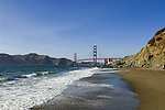 San Francisco: Baker Beach with Golden Gate Bridge in background.  Photo # 2-casanf83766.  Photo copyright Lee Foster