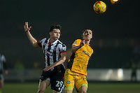 Calum Dyson of Grimsby and Sid Nelson of Newport County during the Sky Bet League 2 match between Newport County and Grimsby Town at Rodney Parade, Newport, Wales on 14 February 2017. Photo by Mark  Hawkins / PRiME Media Images.