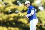 Inbee Park watches her putt on the 15th hole at the LPGA Championship 2014 Sponsored By Wegmans at Monroe Golf Club in Pittsford, New York on August 17, 2014