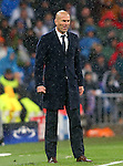 Real Madrid's coach Zinedine Zidane during Champions League 2015/2016 Quarter-finals 2nd leg match. April 12,2016. (ALTERPHOTOS/Acero)