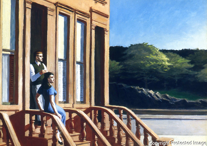 American Painters:  Edward Hopper--Sunlight on Brownstones, 1956.  Oil on canvas.  Wichita Art Museum.  Reference only.