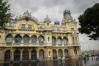 This stately building is located at the forefront of the Barcelona's harbor.