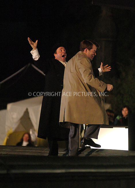 Matthew Broderick and Nathan Lane film a song and dance number in Central Park for the movie version of 'The Producers' which is currently being shot in New York City. May 5 2005.....Please byline: PHILIP VAUGHAN/ACE Pictures....*PAY-PER-USE*....IMPORTANT: Please note that our old trade name New York Photo Press has changed to ACE Pictures. New York Photo Press and ACE Pictures are both owned by All Celebrity Entertainment, Inc.......tel: 212 243 8787..e-mail: info@acepixs.com..website: www.acepixs.com