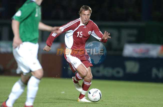 Euro 2008 qualifier at Windsor Park, Belfast. Northern Ireland v Latvia - Group F...Latvia number 15 Genadis Solonicins in action during the above...Photo: AFP Photo/BARRY CRONIN/Newsfile..(Photo credit should read AFP/BARRY CRONIN/NEWSFILE).<br />