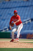 Philadelphia Phillies pitcher Fernando Lozano (79) during an Instructional League game against the Toronto Blue Jays on September 17, 2019 at Spectrum Field in Clearwater, Florida.  (Mike Janes/Four Seam Images)