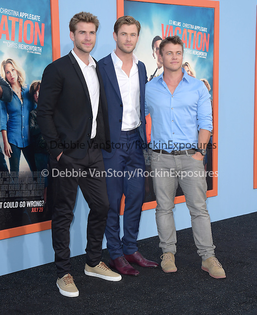 Liam Hemsworth, Chris Hemsworth, Luke Hemsworth<br />  attends The Warner Bros. Pictures' L.A. Premiere of Vacation held at The Regency Village Theatre  in Westwood, California on July 27,2015                                                                               © 2015 Hollywood Press Agency
