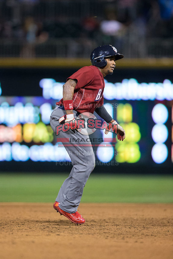Cedric Hunter (21) of the Lehigh Valley Iron Pigs takes his lead off of second base against the Charlotte Knights at BB&T BallPark on June 3, 2016 in Charlotte, North Carolina.  The Iron Pigs defeated the Knights 6-4.  (Brian Westerholt/Four Seam Images)