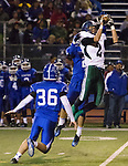 Damonte Ranch Mustangs Jared Blake makes the catch during their football game against the Carson Senators on Friday night, October 4, 2013 at Carson High School.