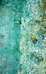 Blue Green Wall - Weathered and cracked blue green painted wall in Nguyen Thai Hoc Street, Hoi An, Viet Nam