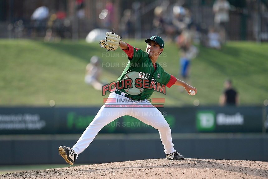 Pitcher Rio Gomez (48) of the Greenville Drive delivers a pitch in a game against the West Virginia Power on Sunday, May 19, 2019, at Fluor Field at the West End in Greenville, South Carolina. Greenville won, 8-4. (Tom Priddy/Four Seam Images)