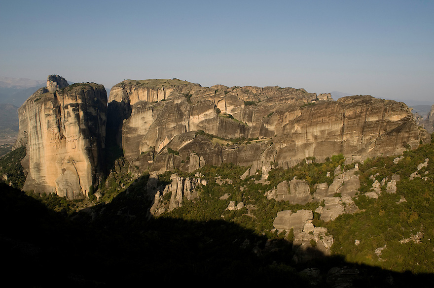Greece, Meteora, landscape and cliffs in sunrise