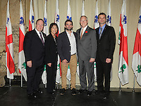 October 29 2012 - Montreal, Quebec, CANADA - Gerald Tremblay, Mayor of Montreal receive at City Hall  local athletes who took part in London 2012  Olympics and Paralympics games. IN PHOTO : Hugues Fournel