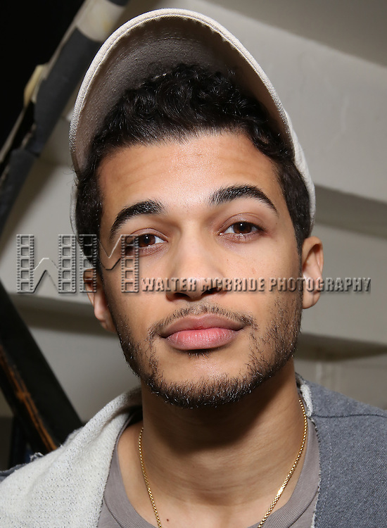 Jordan Fisher backstage before the cast Q & A for The Rockefeller Foundation and The Gilder Lehrman Institute of American History sponsored High School student matinee performance of  'Hamilton' at the Richard Rodgers Theatre on 2/8/2017 in New York City.