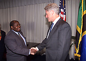 In this photo released by the White House, United States President Bill Clinton Meets with President Benjamin W. Mkapa of Tanzania at the United States Mission in New York, New York on 21 September, 1999.<br /> Mandatory Credit: David Scull / White House via CNP