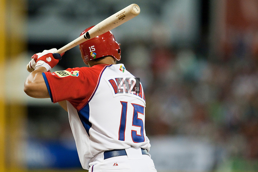 11 March 2009: #15 Carlos Beltran of Puerto Rico is seen at bat during the 2009 World Baseball Classic Pool D game 6 at Hiram Bithorn Stadium in San Juan, Puerto Rico. Puerto Rico wins 5-0 over the Netherlands