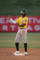AZL Athletics left fielder Lawrence Butler (23) stands on second base during an Arizona League game against the AZL Angels at Tempe Diablo Stadium on June 26, 2018 in Tempe, Arizona. The AZL Athletics defeated the AZL Angels 7-1. (Zachary Lucy/Four Seam Images)