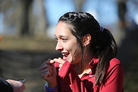 NWA Democrat-Gazette/DAVID GOTTSCHALK University of Arkansas Cross Country runner Taylor Werner discusses the end of the race after finishing Friday, November 15, 2019, at the NCAA South Regional at the Agri Park course in Fayetteville. Werner won the overall individual title and the Razorback women won the overall team title.