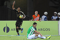 MEDELLIN - COLOMBIA -13-04-2014: Jorge Ramos (Izq.) jugador Fortaleza FC celebran el gol anotado al Atletico Nacional durante partido Atletico Nacional y Fortaleza FC por la fecha 17 de la Liga Postobon I 2014 en el estadio Atanasio Girardot de la ciudad de Medellin. / Jorge Ramos player of Fortaleza FC celebrates a scored goal to Atletico Nacional during a match Atletico Nacional and Fortaleza FC for the date 17th of the Liga Postobon I 2014 at the Atanasio Girardot stadium in Medellin city. Photo: VizzorImage  / Luis Rios / Str.