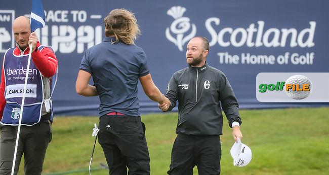 Andy Sullivan (ENG) and Johan Carlsson (SWE) score 13 birdies and an eagle between them during Round Three of the Aberdeen Asset Management Scottish Open 2017, played at Dundonald Links, Troon, Ayrshire, Scotland.  15/07/2017. Picture: David Lloyd | Golffile.<br /> <br /> Images must display mandatory copyright credit - (Copyright: David Lloyd | Golffile).