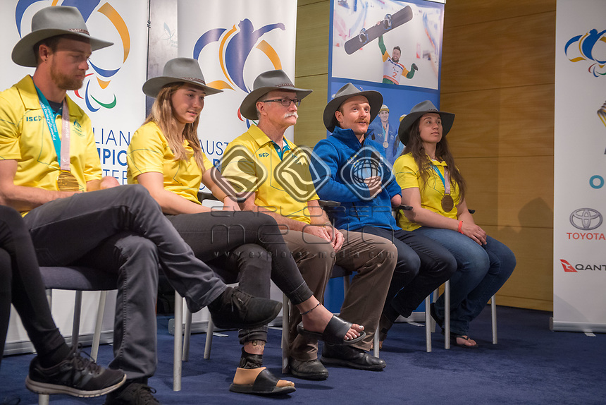 Welcome home / Press Conference / Mitch Gourley<br /> PyeongChang 2018 Paralympic Games<br /> Australian Paralympic Committee<br /> Sydney International Airport<br /> PyeongChang South Korea<br /> Tuesday March 20th 2018<br /> &copy; Sport the library / Jeff Crow