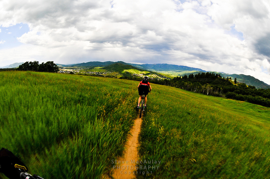 Mountain biking on the singletrack trails of Howelsen Hill, Steamboat Springs, Colorado
