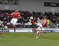 Andrew Considine clears in the St Mirren v Aberdeen Clydesdale Bank Scottish Premier League match played at St Mirren Park, Paisley on 9.11.12.